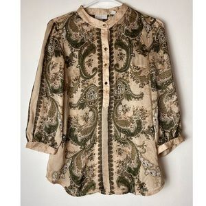 New York and company button-front paisley blouse